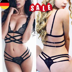 Sexy Damen Bandage BH-Set Spitze Dessous Reizwäsche G-String Thongs Geschenk DE