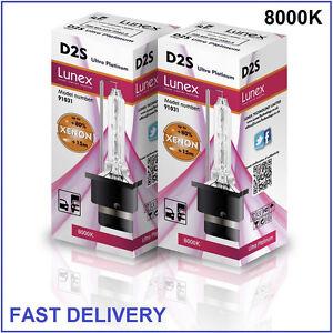 2 x D2S Genuine LUNEX XENON BULB 8000K HID compatible 85122 66040 66240 53500