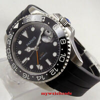 40mm PARNIS black dial Sapphire glass rubber strap GMT automatic mens watch 338C