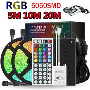 20M LED Strip Light 5050 SMD RGB 30Leds/m 44keys Remote Controller 12V Kit US