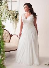 White/Ivory Chiffon Wedding Dress Bridal Gown Stock Plus Size16 18 20 22 24 26