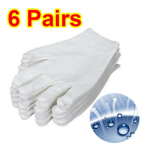 6 Pairs 100% Cotton Gloves White Dermatological Overnight Moisturising Eczema UK