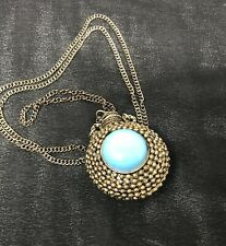 Vintage Silver Snuff Perfume Bottle Pendant Necklace Turquoise Necklace Boho