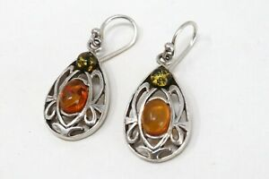 A Pair Of Vintage Sterling Silver 925 Amber Cut Out Design Dropper Earrings #73