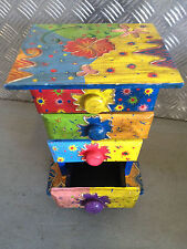 Colourful Hand Painted Wooden Chest With 4 Compartments For Trinkets Multi Shade