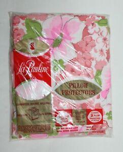 Vintage La Pauline Pink Floral Design Pillow Protectors 100% Cotton  Sealed NOS