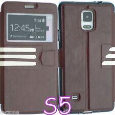 Per Samsung Galaxy S5 i9600 Pelle Cover Custodia Wallet FLIP Back Custodia G900F + SP