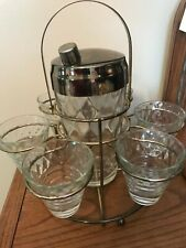 Vintage glass martini shaker and glasses with caddy