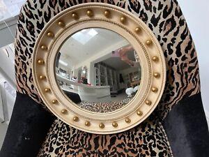 mid century round convex  mirror cream with gold balls