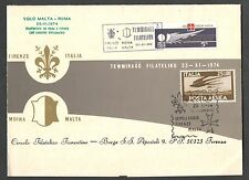 Cartoncino  Volo Malta Firenze 23/11/74  Annullo Speciale Corriere Diplomatico