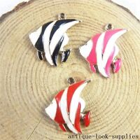 12pcs Colorful Enamel Alloy Tropical Fish Charms Pendants Jewellery Making 51195