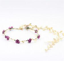 Women Gold Leaf Flower Tiara Headband Head Piece Hair Band Hair Jewelry