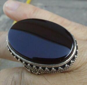 RED BLACK Yemeni Shefat Alabed Aqeeq Ring Agate Men الأحمر اليمني شفة العبد