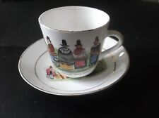VINTAGE GILDED SMALL CUP & SAUCER DUO HANDPAINTED OVER TRANSFER WELSH COSTUMES