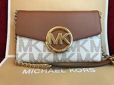 NWT MICHAEL KORS HUDSON PVC LARGE PHONE WALLET CROSSBODY BAG IN VANILLA
