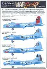 Kits World Decals 1/72 B-17 ID LETTERS NUMBERS BOMB GROUP SYMBOLS Natural Metal