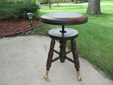 ANTIQUE PIANO ORGAN STOOL Parker Co Meridan CT SWIVEL SEAT CLAW BALL FEET