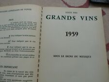 E6 CATALOGUE NICOLAS VIN GASTRONOMIE 1959 CHRISTIAN CAILLARD  MEXIQUE