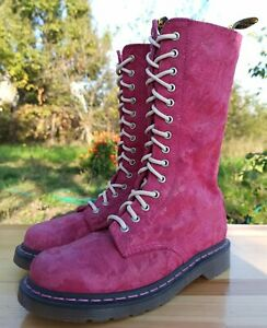 Dr Martens Women 6 UK 8 US Rare 1914 Boots 14 eye Pink Leather Suede Inserts