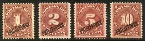 PHILIPPINES #J1-4 Mint - 1899 Postage Dues ($49)