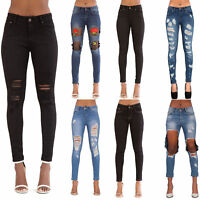 NEW Ladies Women Blue Black Ripped Skinny Jeans Slim Fit Stretch Denim Size 6-14