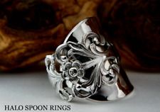 BEAUTIFUL NORWEGIAN SILVER VIKING ROSE SPOON RING THE PERFECT CHRISTMAS GIFT