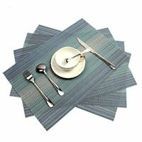 PAUWER Placemats Set of 6 Crossweave Woven Vinyl Placemat for Kitchen Table Heat