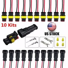 10 Kits 2 Pin Way Sealed Waterproof Electrical Wire Connector Plug Terminal Car