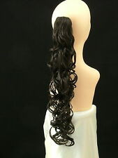 "Clip-On PONY TAIL HAIR EXTENSION Curly 25"" Medium Brown   #4"