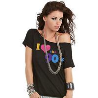 Ladies 1990's I Love The 90s Retro Pop Star T-Shirt Fancy Dress Womens Party Top