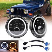 Pair 7'' Round LED Headlights For Jeep Wrangler Unlimited Sport JK JL TJ LJ CJ