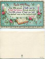 VINTAGE PINK ROSE CANDLE FAITH HOPE SCRIPTURE VERSE PRINT 1 CAT CHICKEN ART CARD