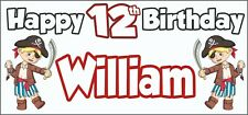 Boy Pirate 12th Birthday Banner x 2 - Party Decorations - Personalised ANY NAME
