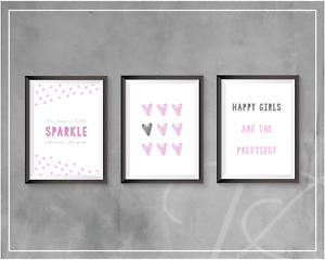 Girls Bedroom Wall Art Decor A4 Prints Poster Pink Grey Hearts Sparkle Quotes