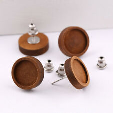 10pairs blank wood 12mm cabochon stud earring base settings accessories DIY