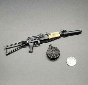 "1:6 Ultimate Soldier AKS 74U Rifle w/ Drum Mag & Silencer 12"" GI Joe Dragon AK47"