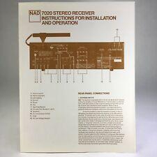 Originale NAD LX-5 7020 Stereo Receiver Anweisungen zur Installation und Bedienung