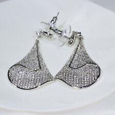 18K White Gold Filled Clear CZ Fashion Jewelry Luxury Lady Dangle Earrings E3755