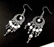 1 Natural Pair of White Howlite Gemstone Bohemian Dangle Earrings - # 36