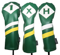 Majek Golf 1 X H Driver Wood & Hybrid Headcover Green White Yellow Leather Style