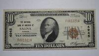 $10 1929 Salina Kansas KS National Currency Bank Note Bill! Ch. #4945 XF++