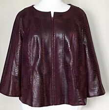 Susan Graver Croco-Embossed Brushed Faux Leather Zip Jacket Burgundy Red 2X