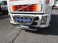 To Fit Volvo FH Series 2 & 3 Steel Low Bumper Nudge Bar + White Flush LEDs x5