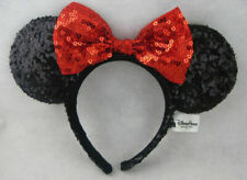 New MINNIE MOUSE EARS Headband Black Sparkle Shimmer Large Red Sequin Bow Mickey