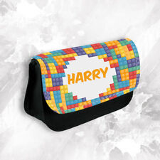 Personalised Any Name Lego Pencil Case Make Up Bag School Kids Stationary Bag