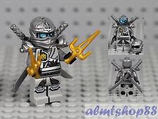 LEGO Ninjago - Titanium Ninja Zane Minifigure w/ Silver Sword & Sai 70748 Dragon