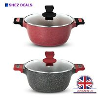 Deep Non Stick Induction Stockpot Fry Cooking Pan Glass Lid Stock Pot Casserole