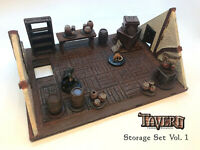 D&D Crates+Pots Storage Set | 28mm Tavern Terrain Dungeons & Dragons Pathfinder