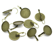 50Pcs Earring Clips Ear France Cameo Setting Alloy Bronze Tone Round Jewelry DIY