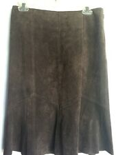 Karen Kane Suede Brown 100% Leather Skirt Flare Size 4